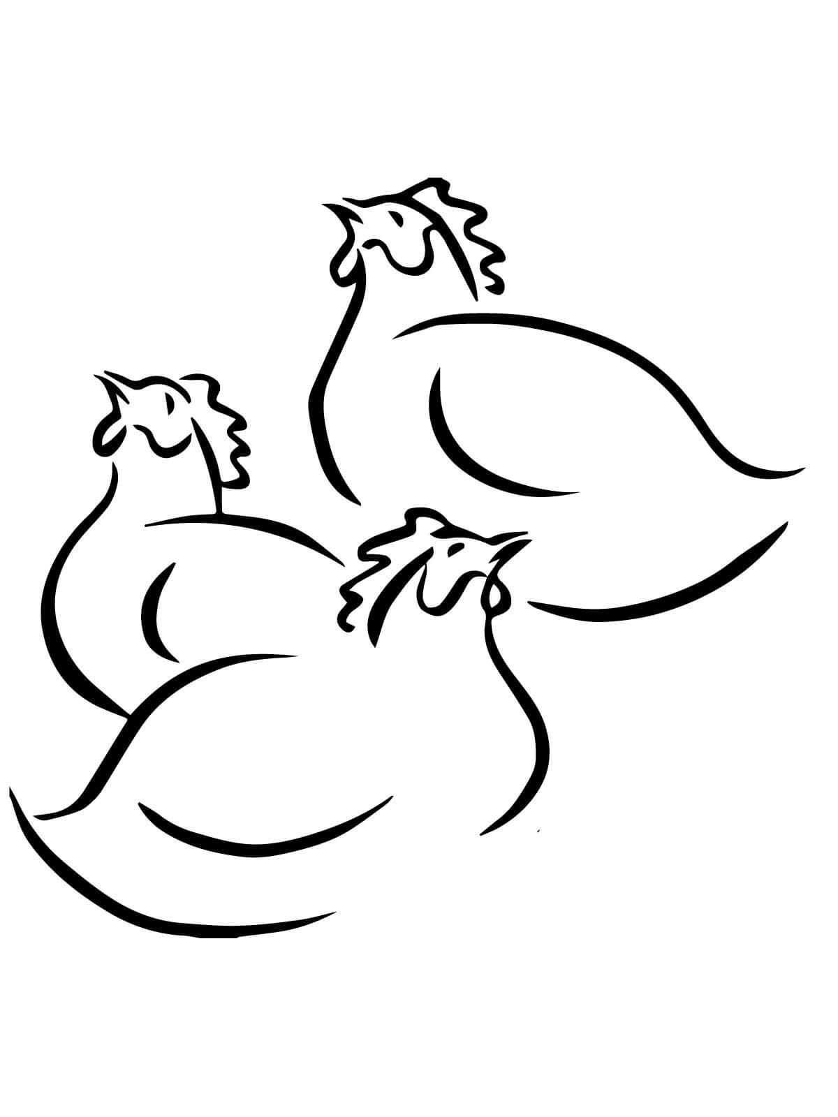 Tranh tô màu đàn gà đơn giản cho bé