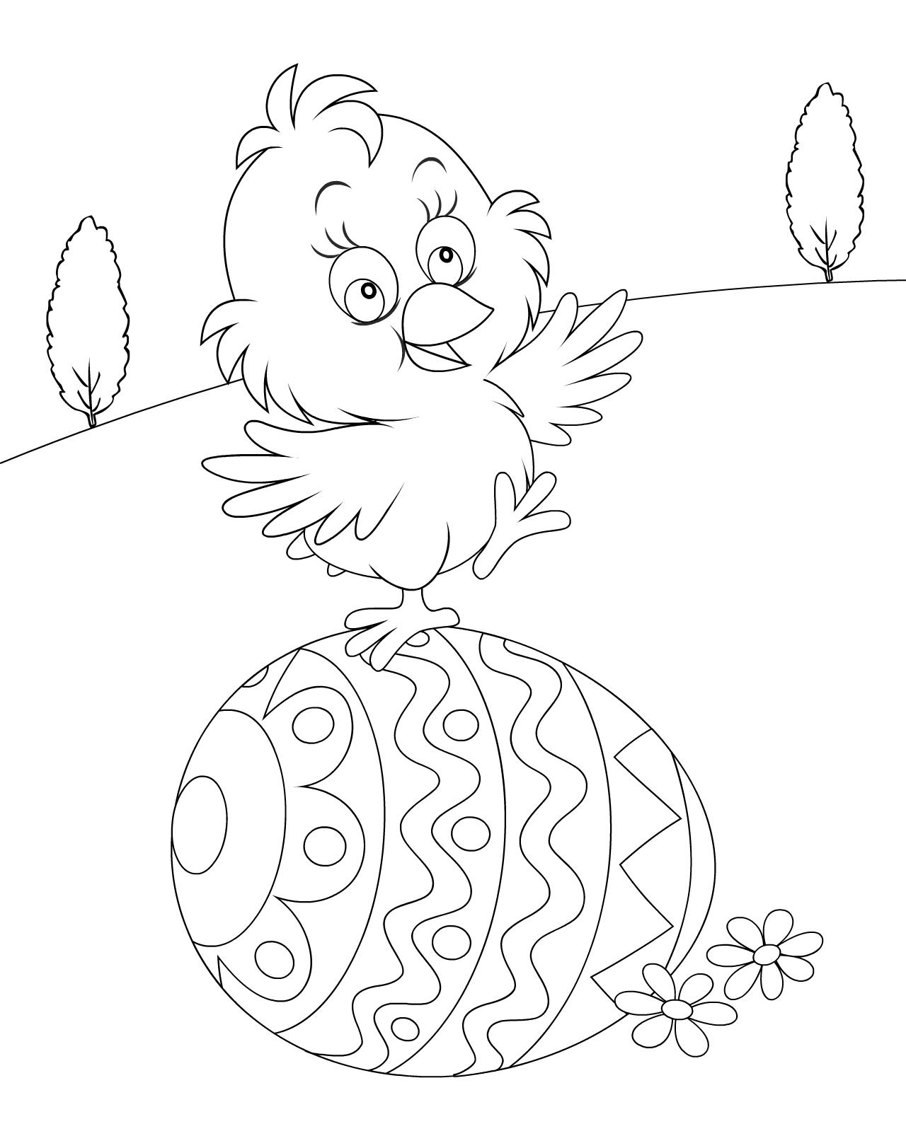 Tranh tô màu gà con đẹp cho bé