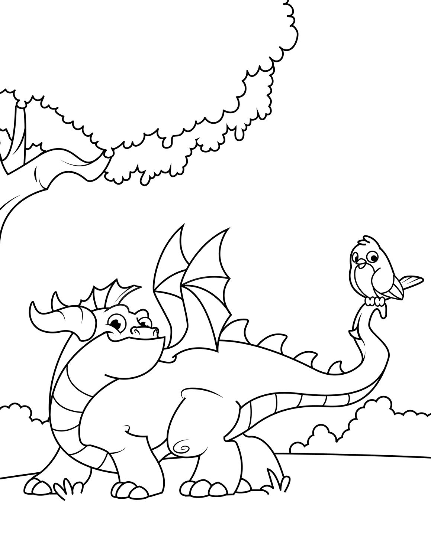 Tranh vẽ tô màu con rồng dễ thương