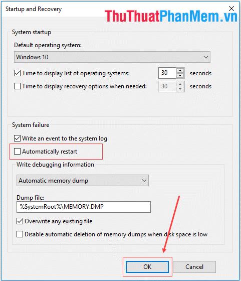 Bỏ đánh dấu Automatically restart