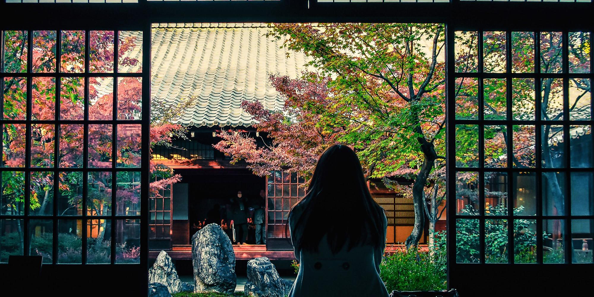 Cảnh vườn trong nhà Nhật Bản rất đẹp