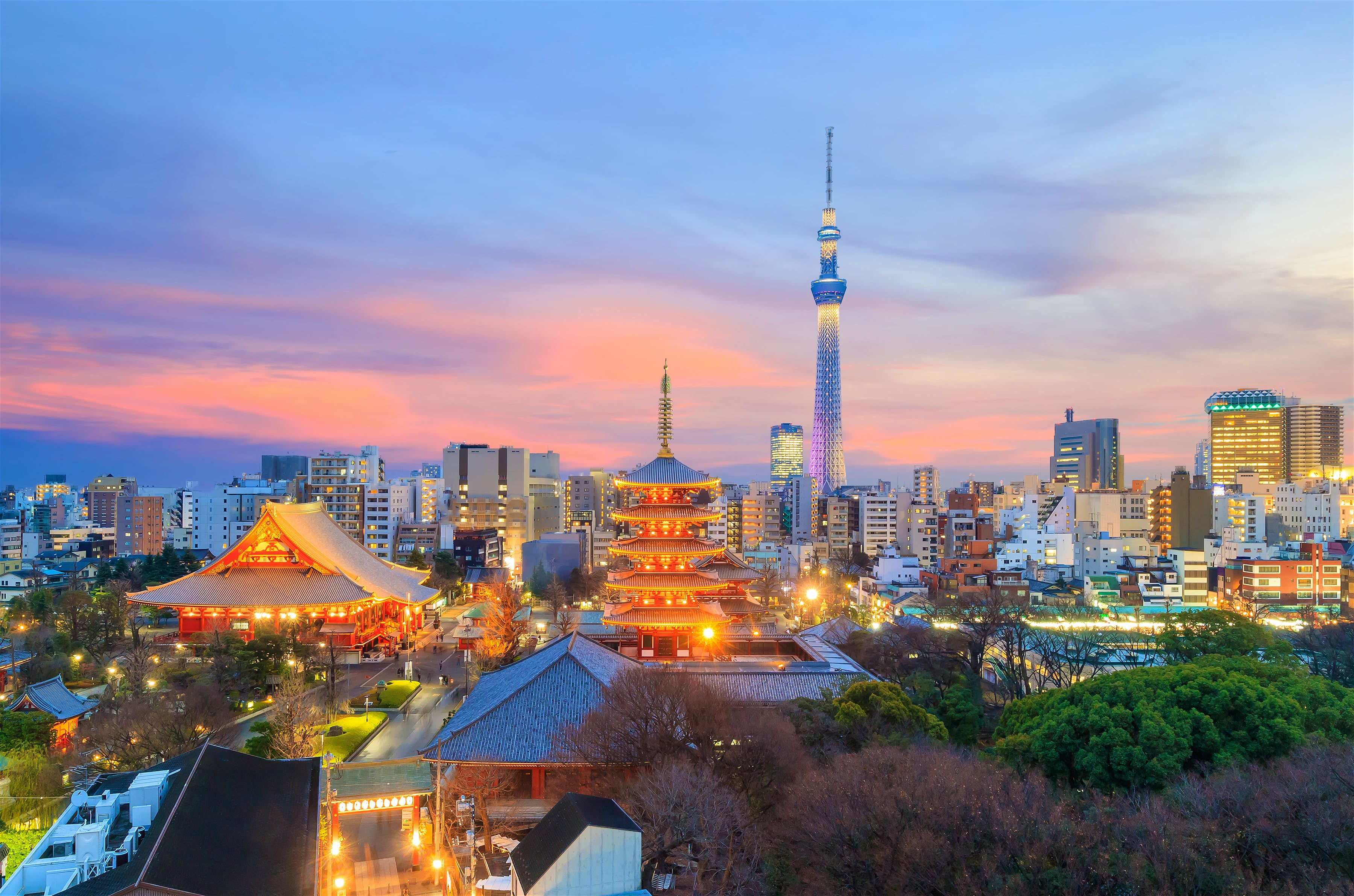 Hình ảnh thành phố lên đèn của Nhật Bản