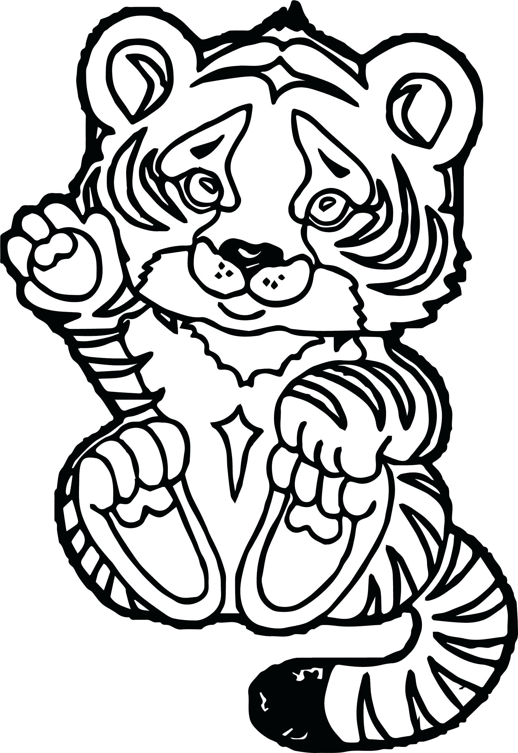 Hình tranh tô màu chú hổ con giơ tay chào