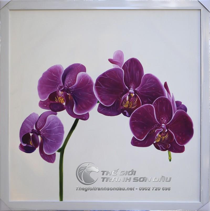 Tranh hoa lan tím tả thực cực kỳ đẹp và nghệ thuật