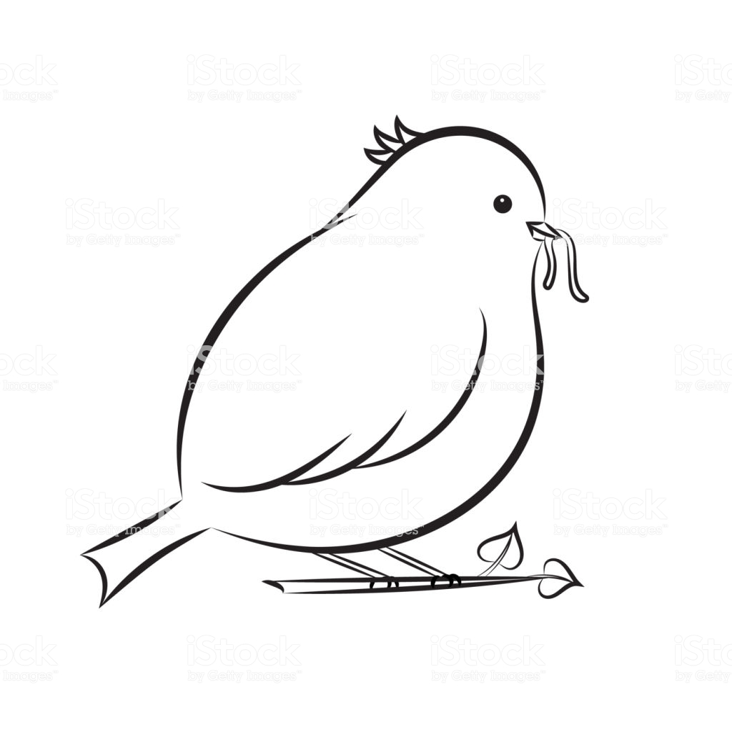 Tranh tô màu chim béo ăn sâu