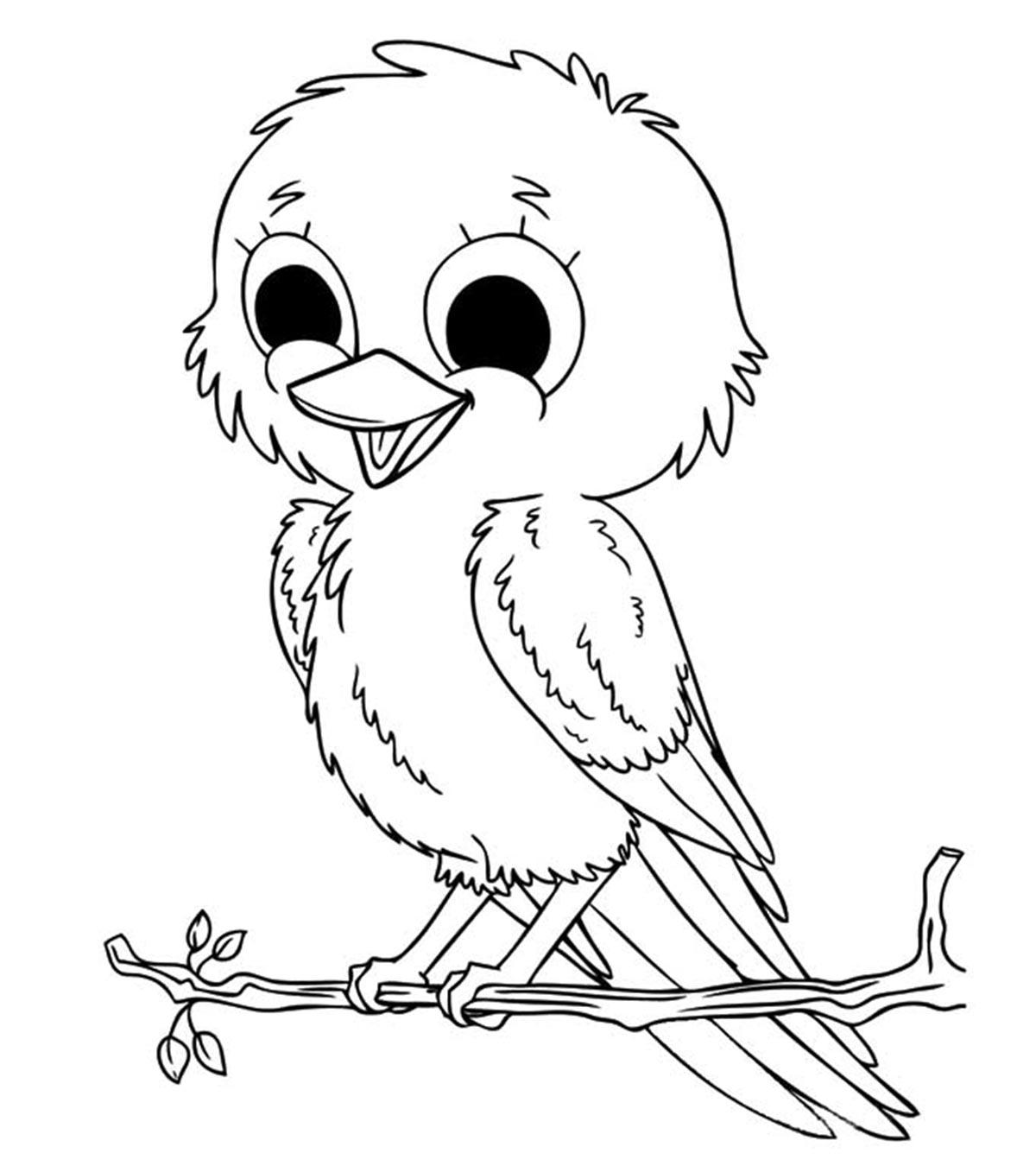 Tranh tô màu chú chim đầu to cho bé