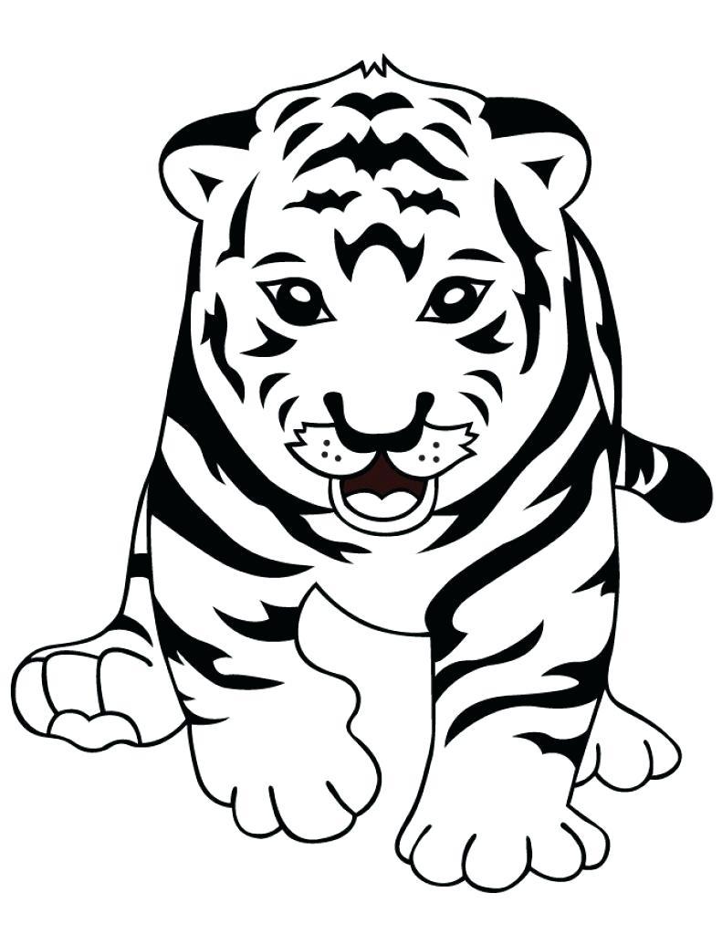 Tranh tô màu chú hổ con đáng yêu
