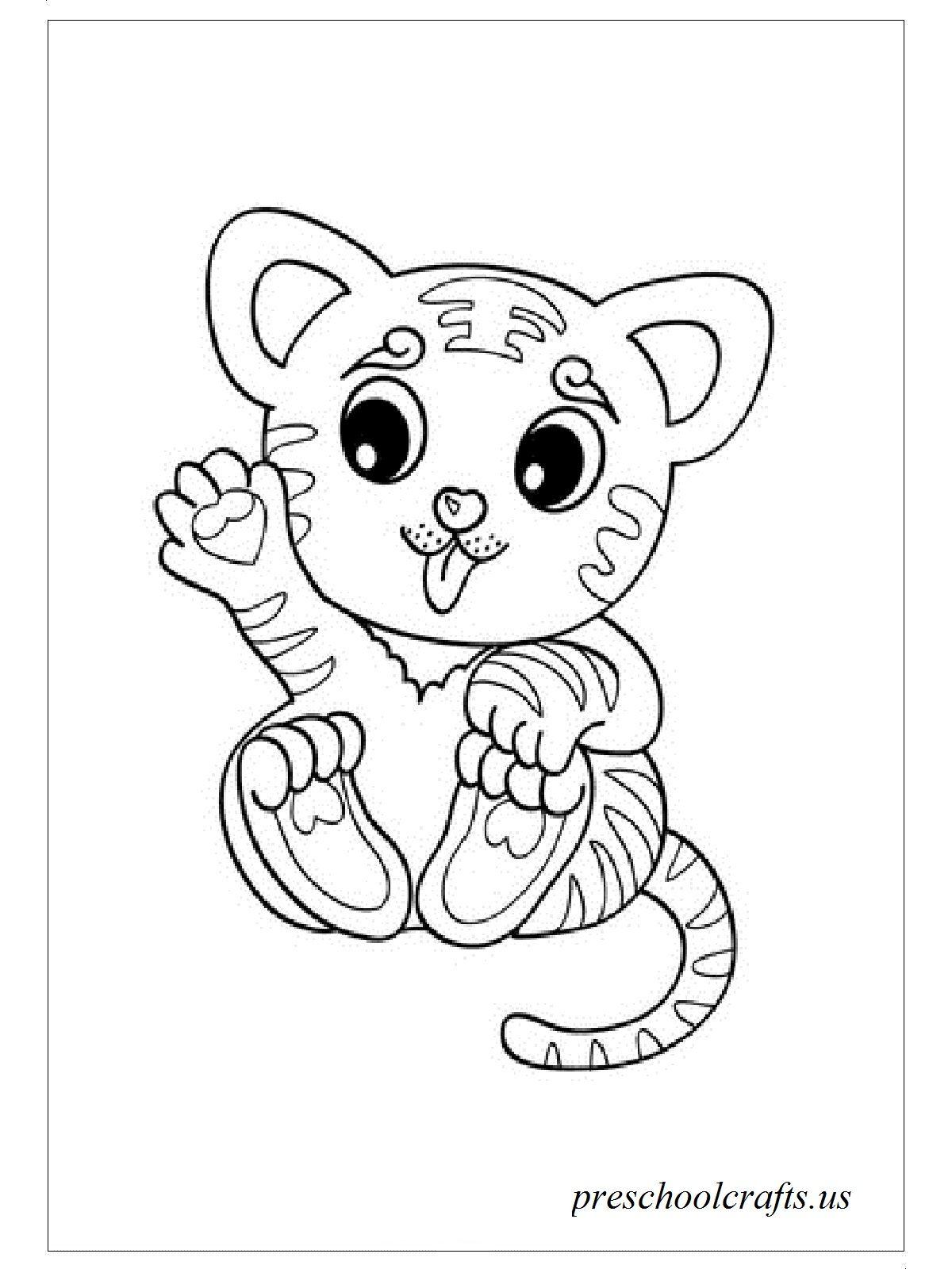 Tranh tô màu con hổ con đáng yêu