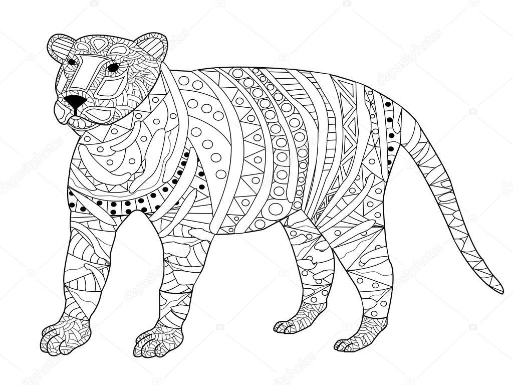 Tranh tô màu con hổ nhiều họa tiết hoa văn