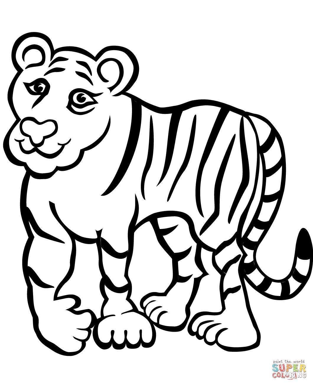Tranh tô màu con hổ vẽ kiểu châm biếm