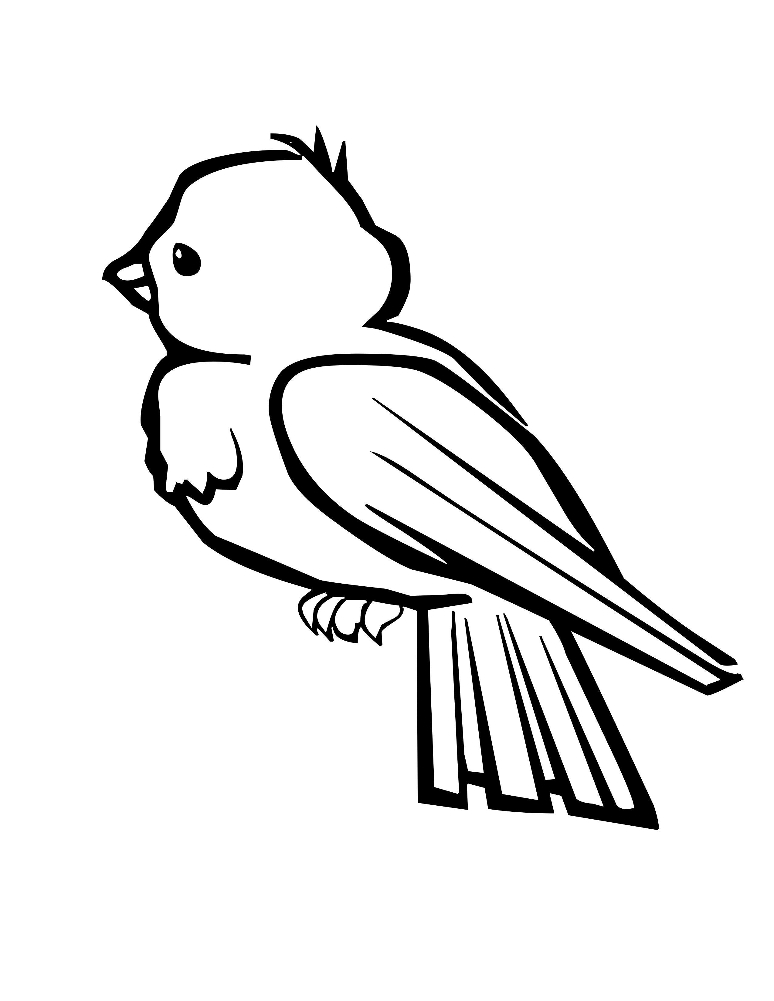Tranh tô màu hình chú chim quay lưng đi