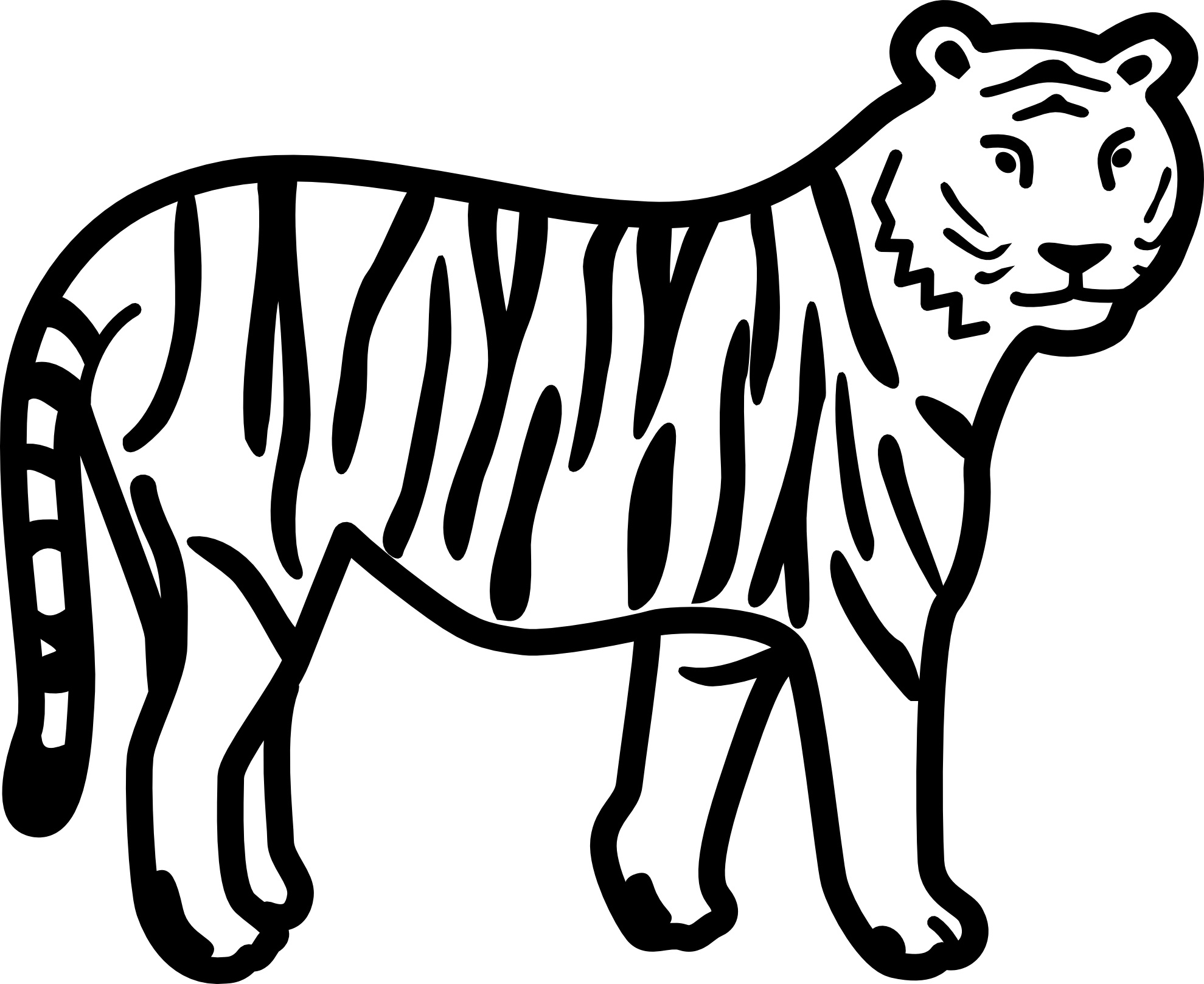 Tranh tô màu hình con hổ đơn giản