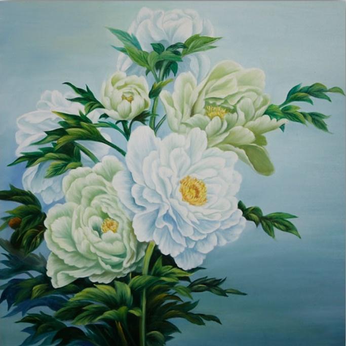 Tranh vẽ sơn dầu hoa mẫu đơn trắng