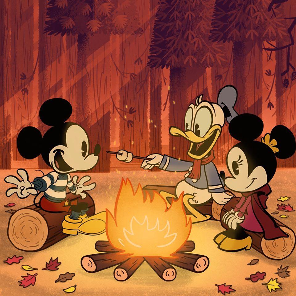 Ảnh chuột Mickey bên bếp lửa với chúng bạn