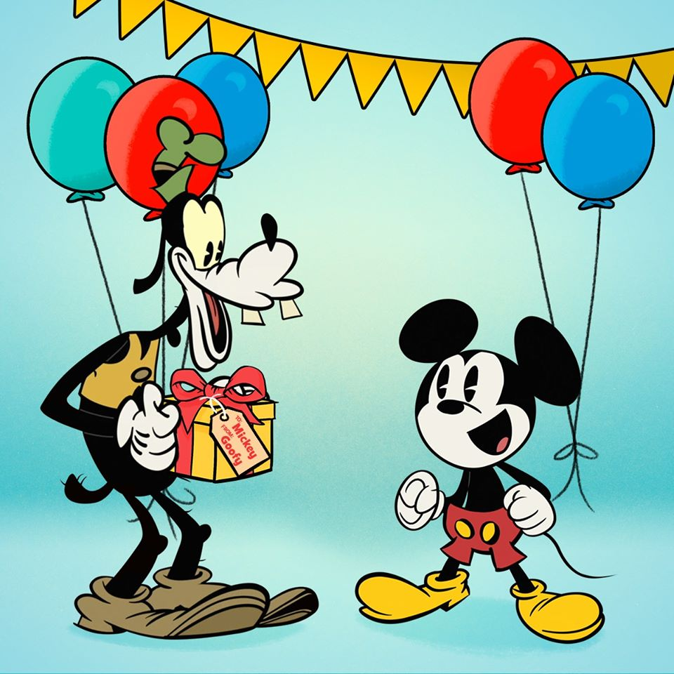 Chó Goofy tặng Mickey món quà gì đó