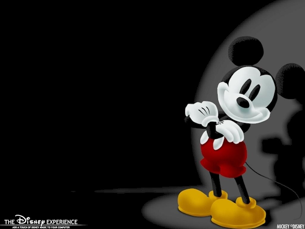 Chú chuột Mickey trên nền đen đèn tròn chiếu