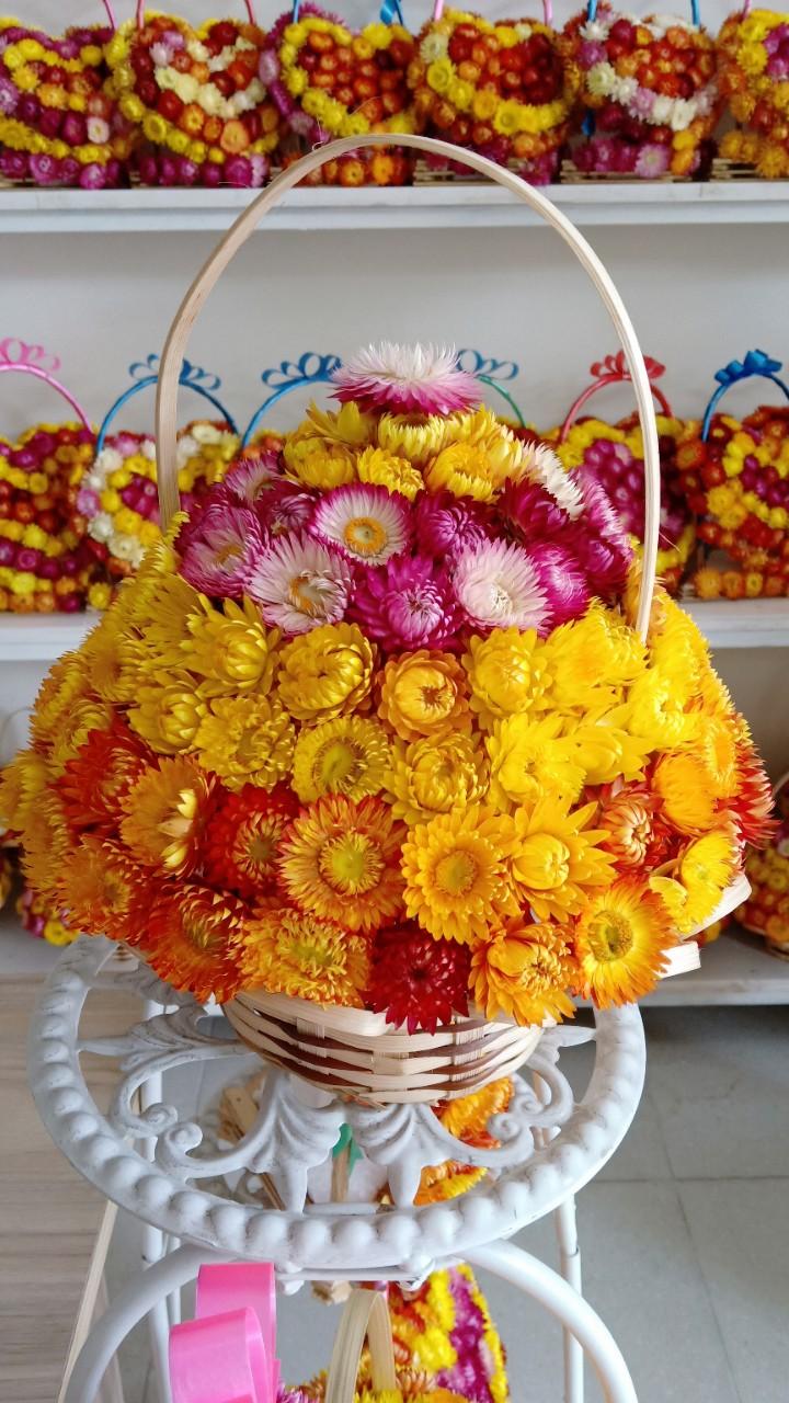 Giỏ hoa bất tử tròn lớn cực đẹp