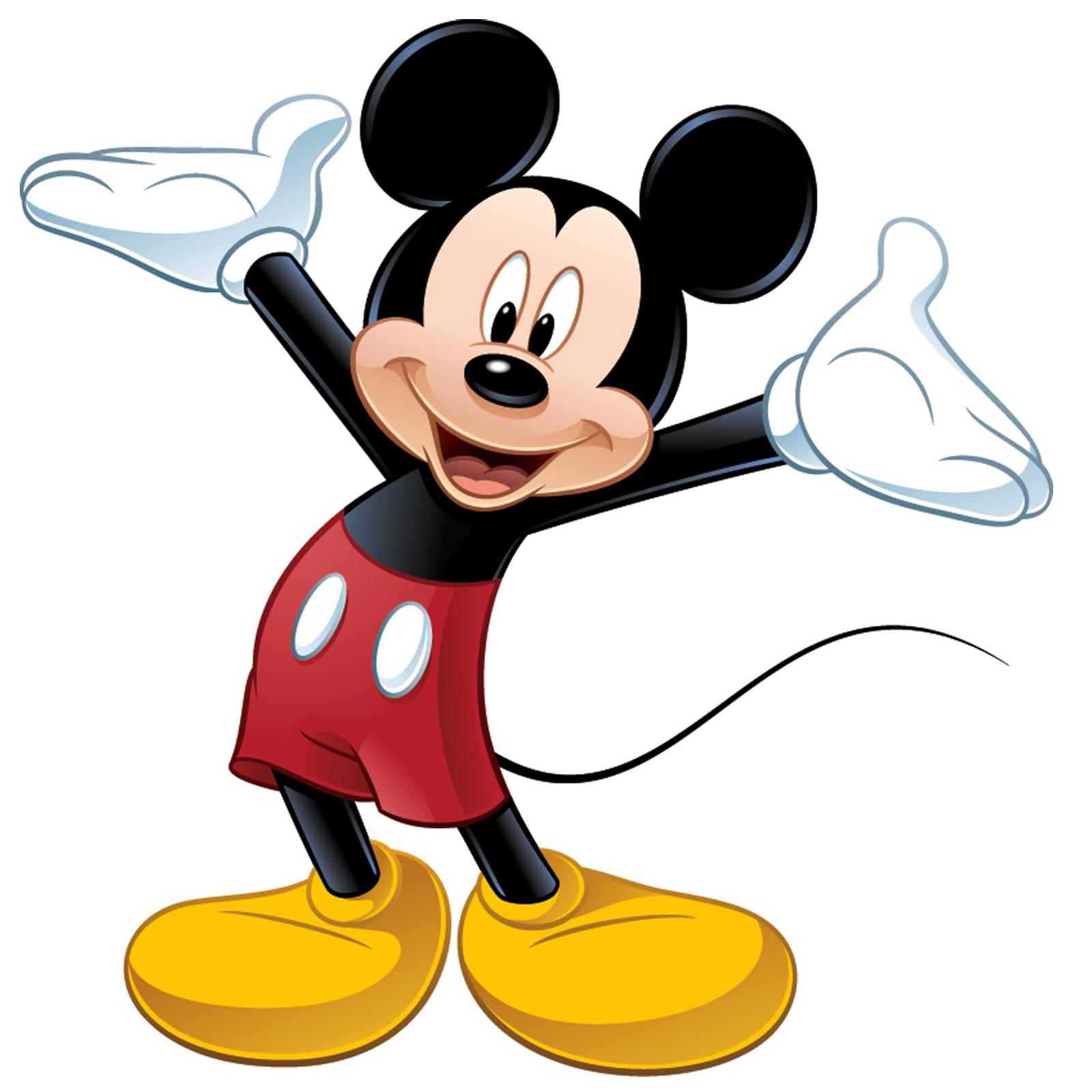Hình ảnh chú chuột Mickey vươn hai tay chào mừng