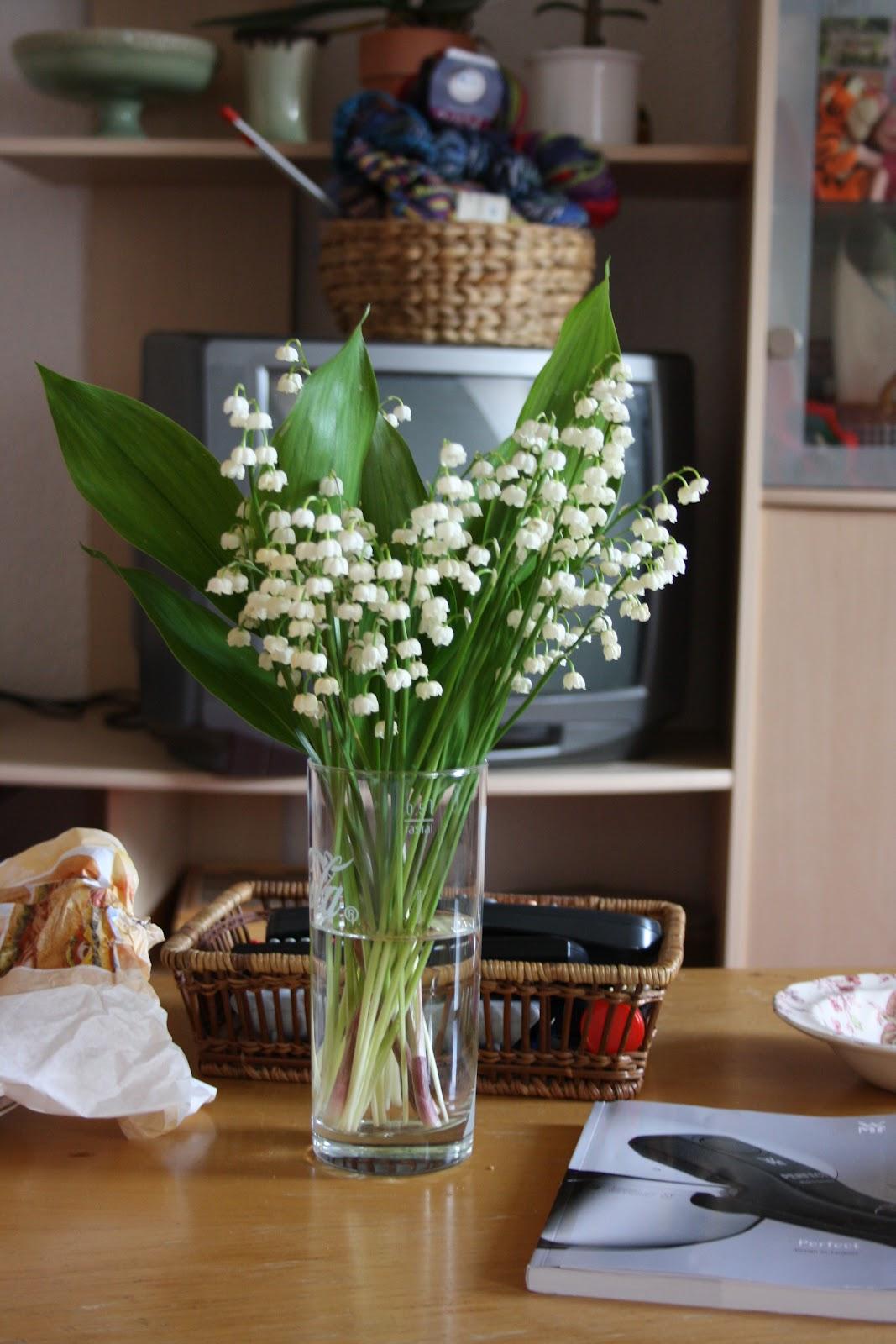 Hoa lan chuông cắm lọ thủy tinh trong nhà