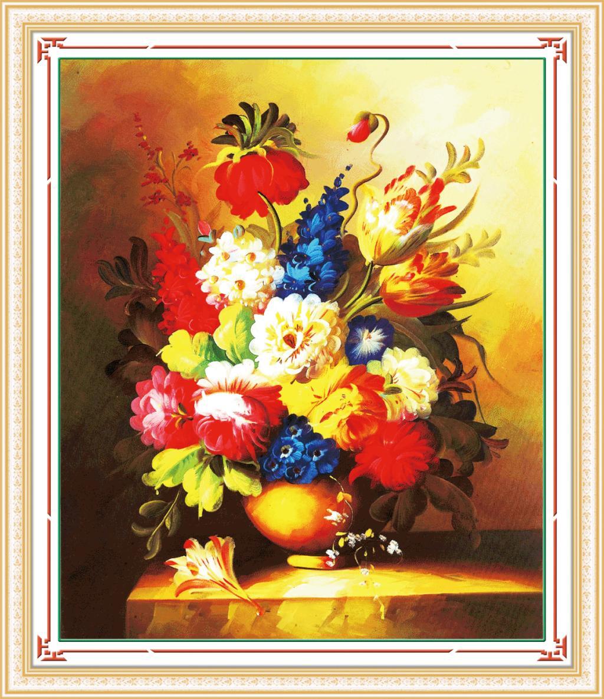Tranh thêu chữ thập hoa bất tử cực đẹp