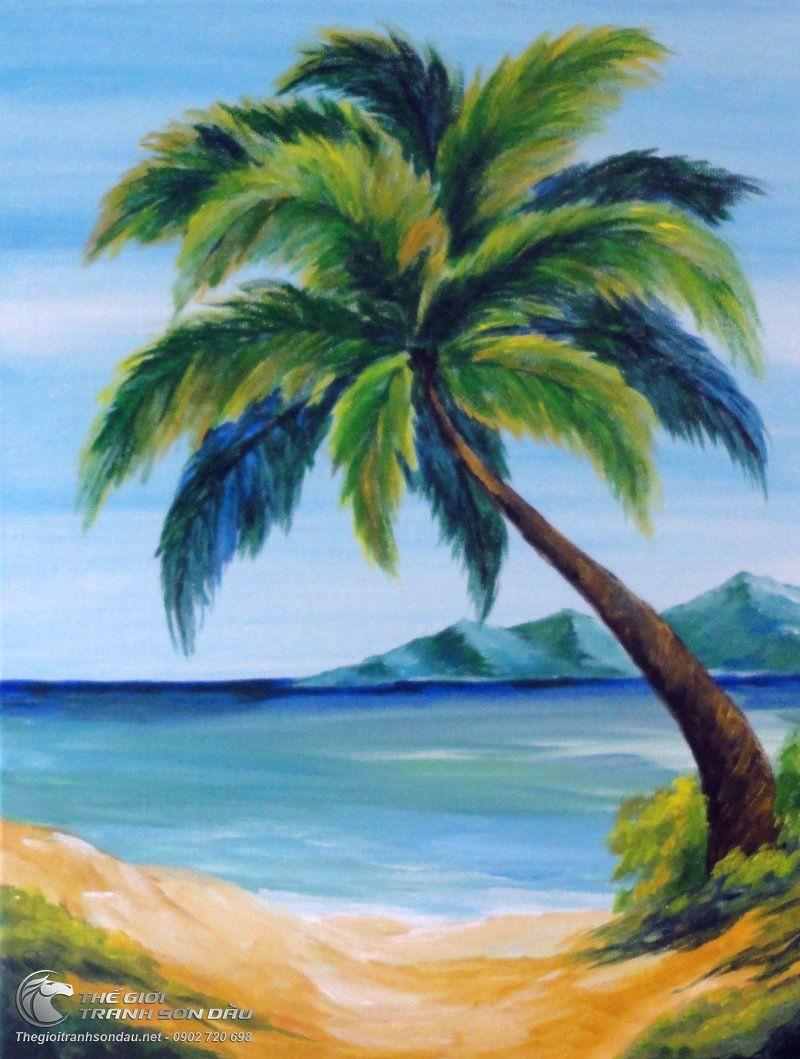 Tranh vẽ cây dừa cực đẹp