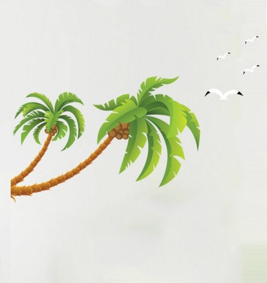 Tranh vẽ cây dừa vươn mình và cánh chim