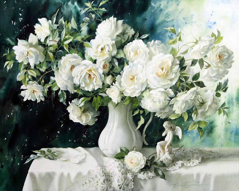 Tranh vẽ lọ hoa trắng cực đẹp