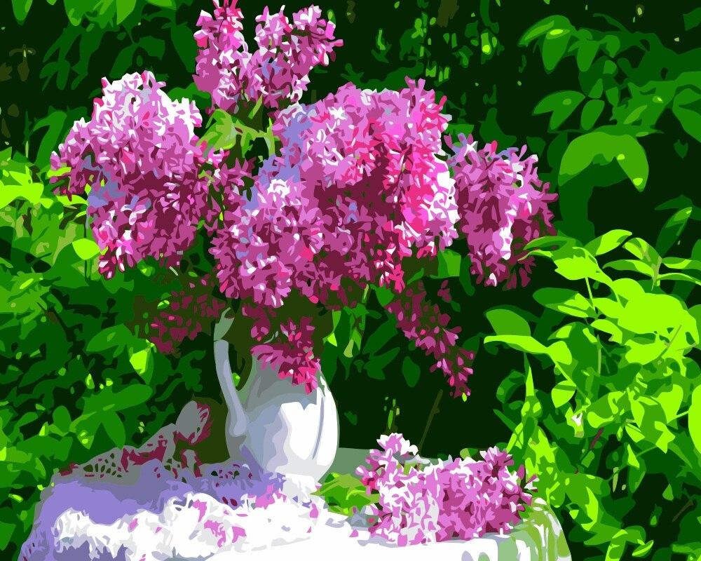 Tranh vẽ lọ hoa tử đinh hương