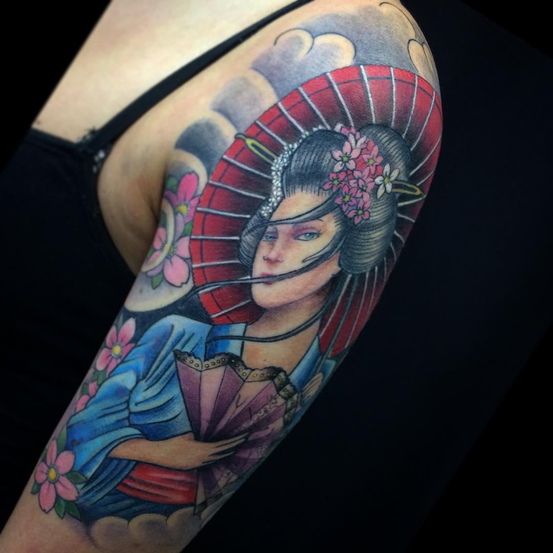 Hình xăm cô gái Geisha đơn giản đẹp