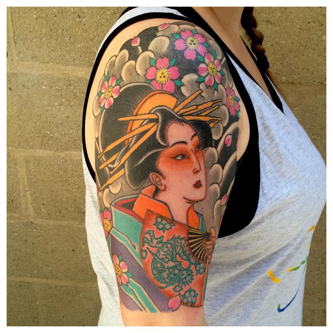 Hình xăm cô gái Geisha Nhật đẹp nhất