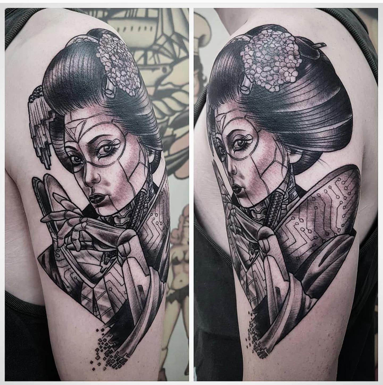 Hình xăm Geisha mặt quỷ
