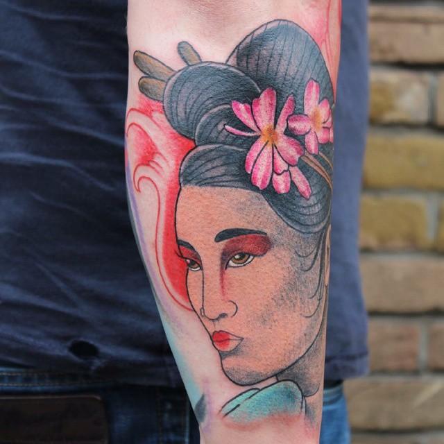 Mẫu hình xăm cô gái Geisha đẹp nhất