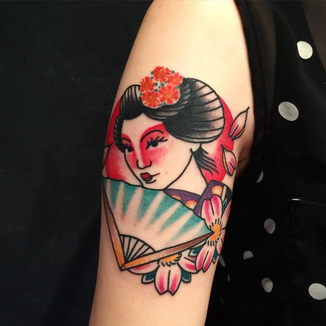 Mẫu hình xăm cô gái Geisha đẹp