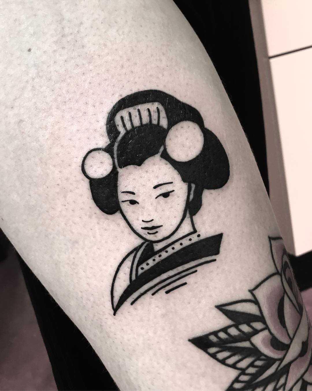 Mẫu hình xăm Geisha đơn giản