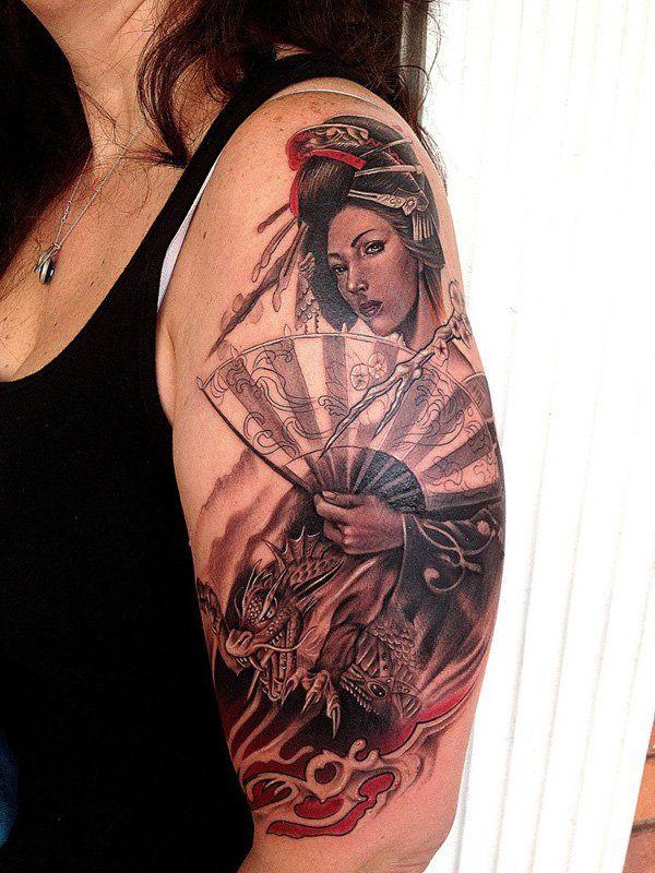 Mẫu tattoo cô gái Nhật đẹp