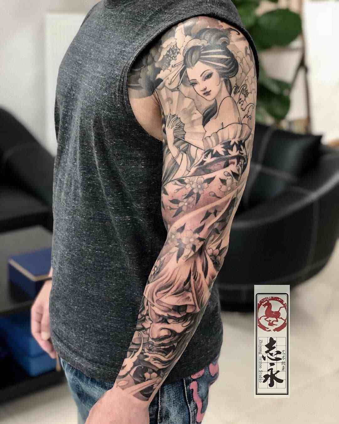 Tattoo hình cô gái Nhật cực đẹp