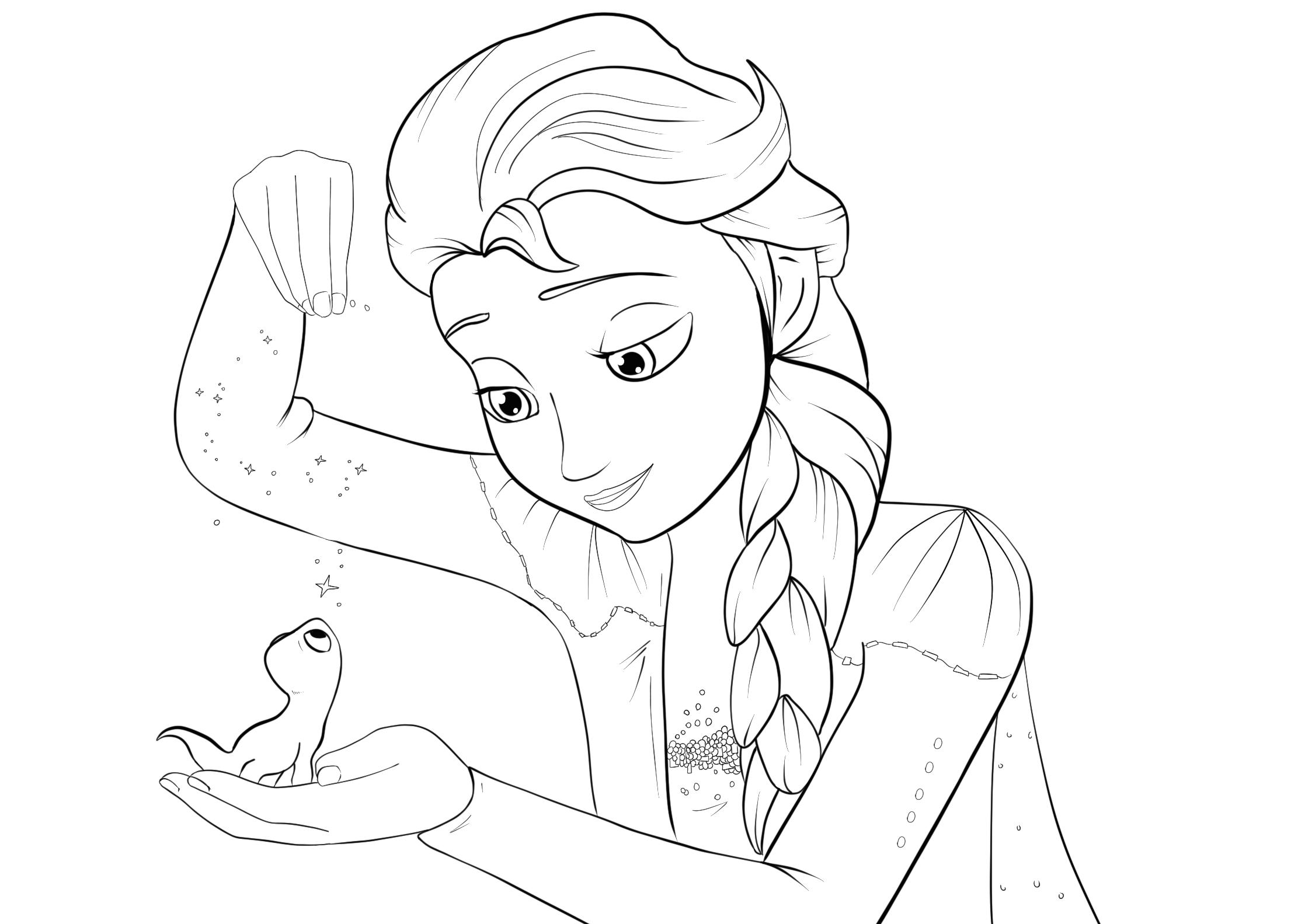 Tranh tô màu công cháu Elsa dễ thương