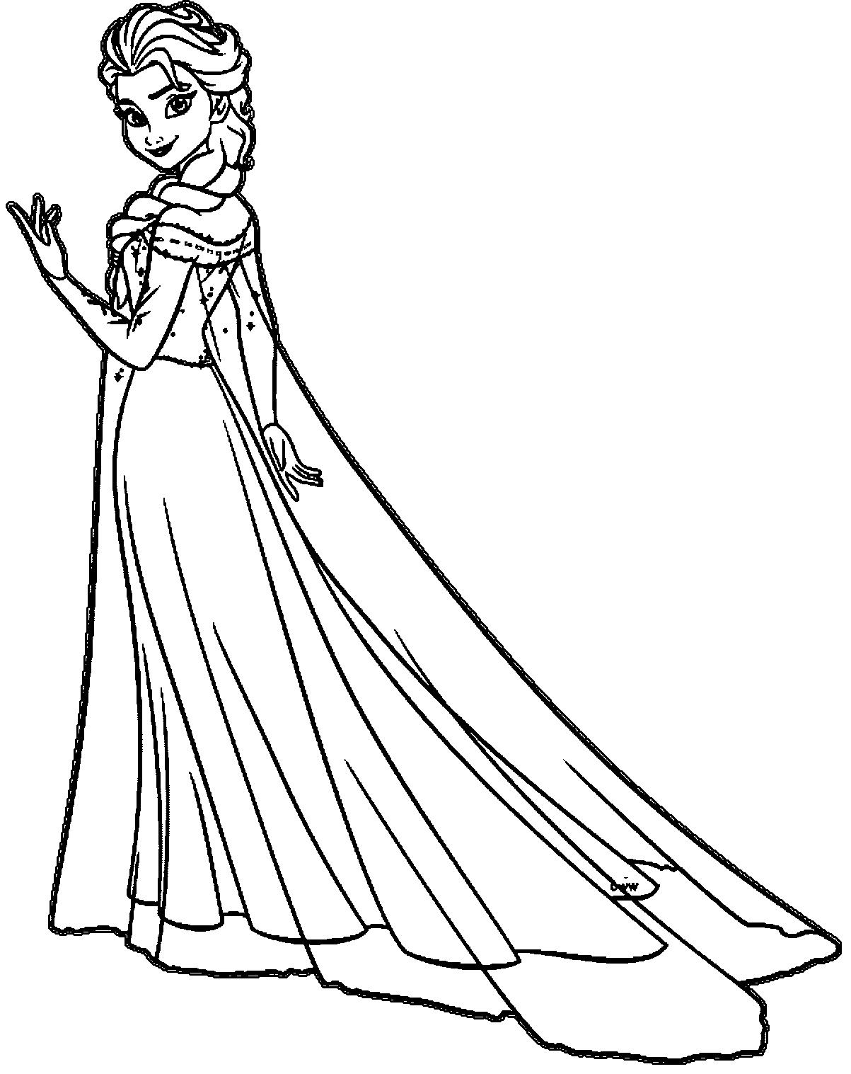 Tranh tô màu công chúa Elsa đáng yêu, dễ thương