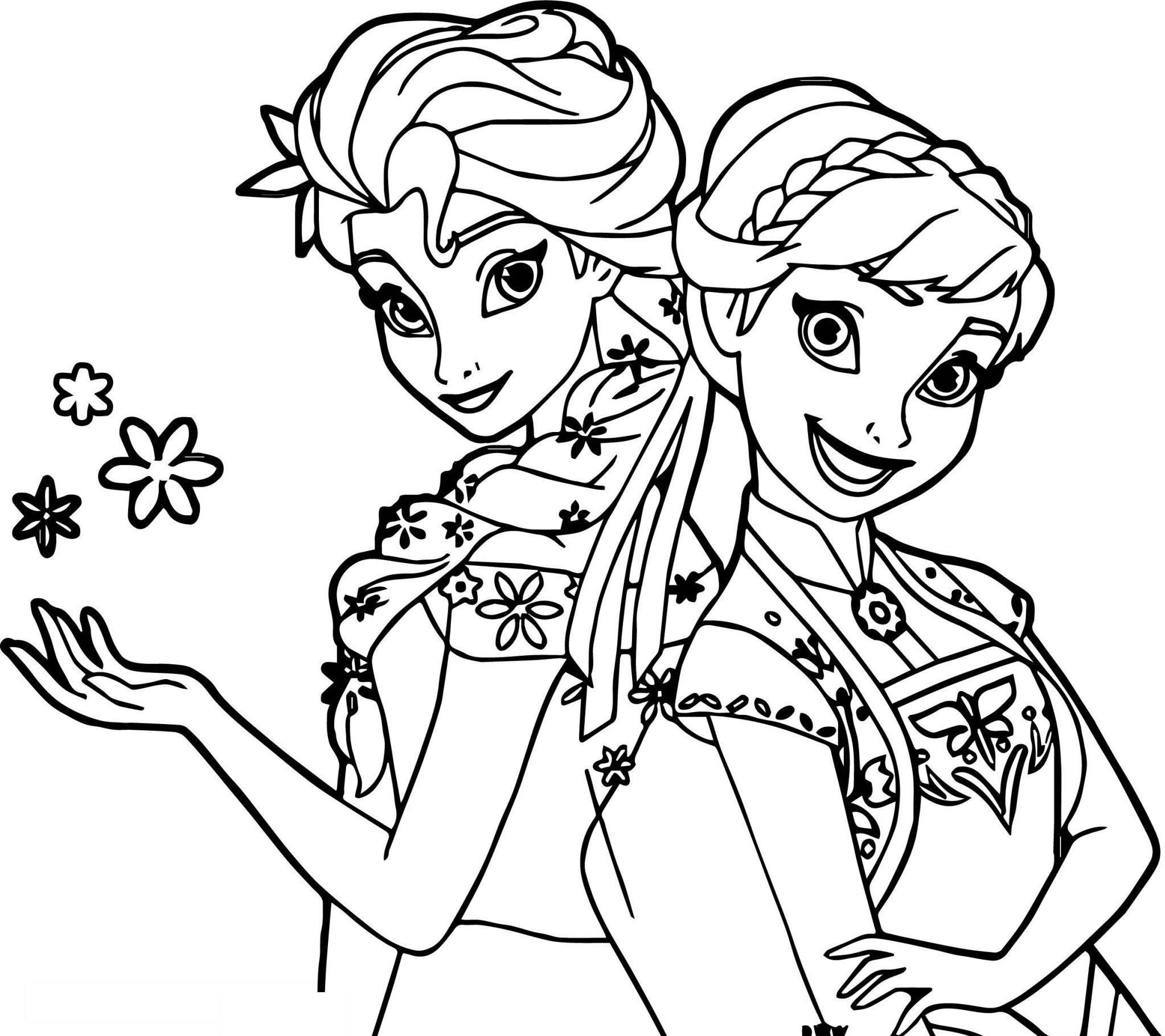 Tranh tô màu công chúa Elsa dễ thương cực đẹp cho bé