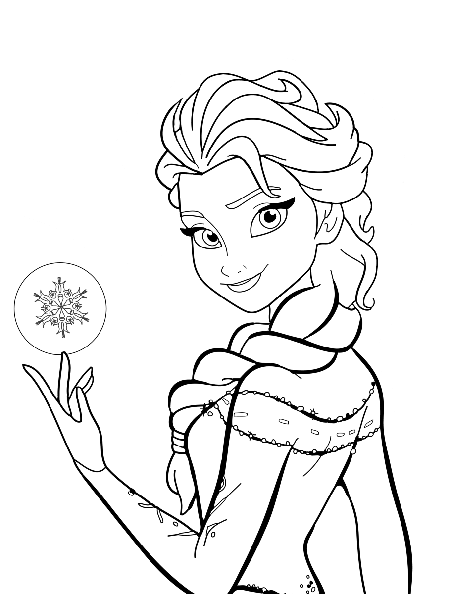 Tranh tô màu Elsa băng giá xinh đẹp