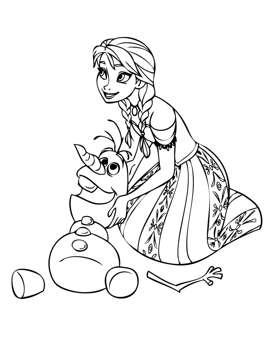 Tranh tô màu Elsa và Olaf