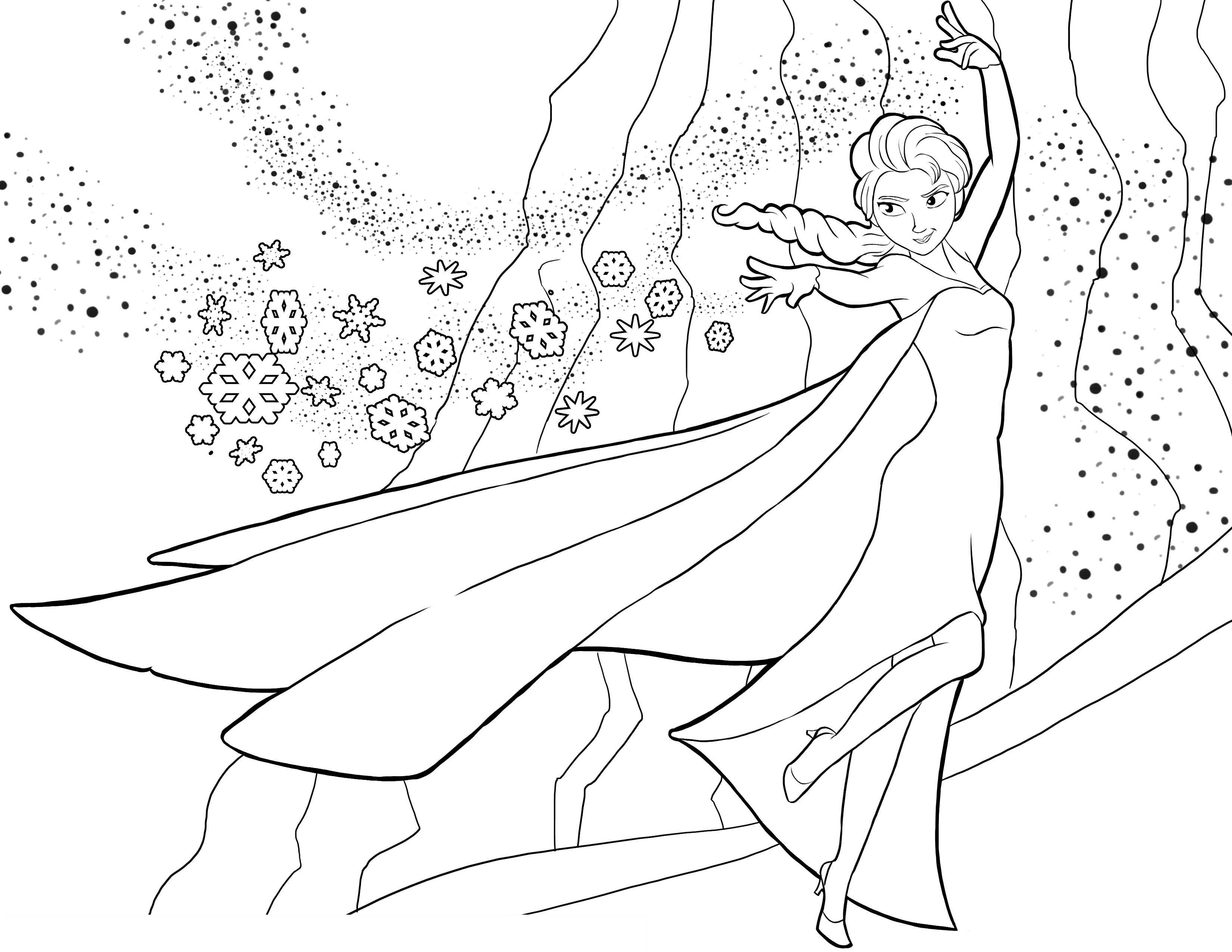 Tranh tô màu nữ hoàng băng Elsa cực đẹp cho bé