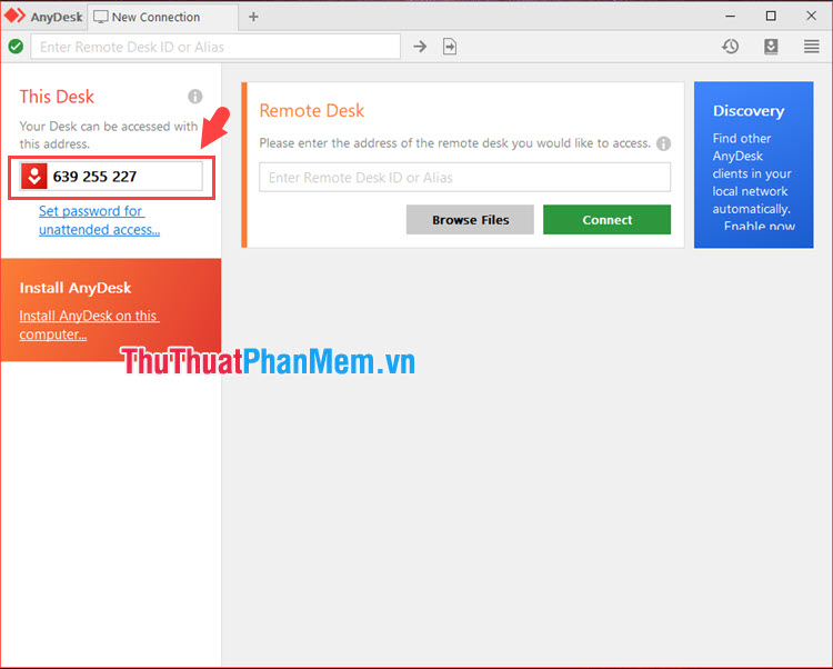 Bạn hãy ghi nhớ mã ID của phần mềm ở góc trái màn hình