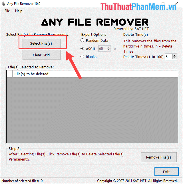 Chọn Select File(s)