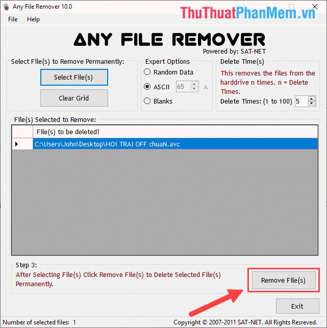 Nhấn vào Remover File(s)