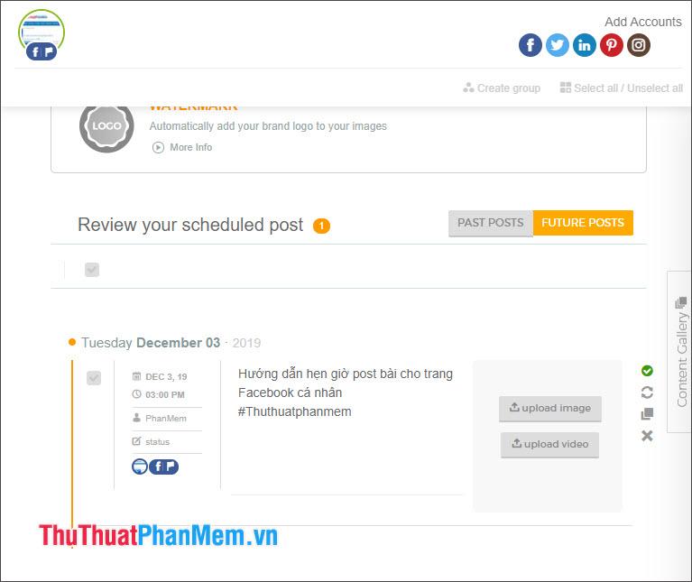 Xem lại bài đăng ở mục Review your scheduled post