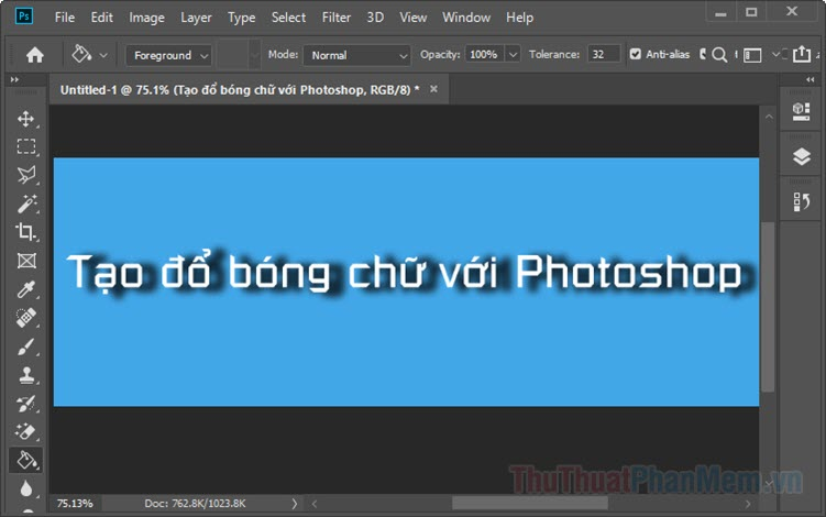 Cách tạo đổ bóng chữ trong Photoshop