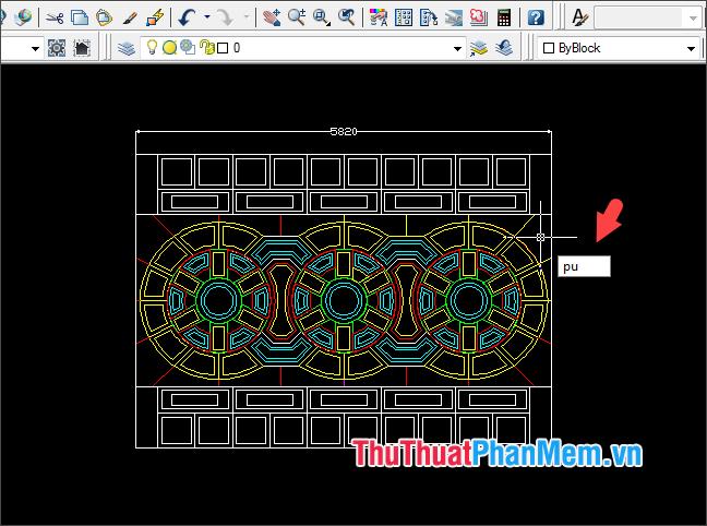 Nhập lệnh pu và bấm Enter từ màn hình chính của AutoCAD