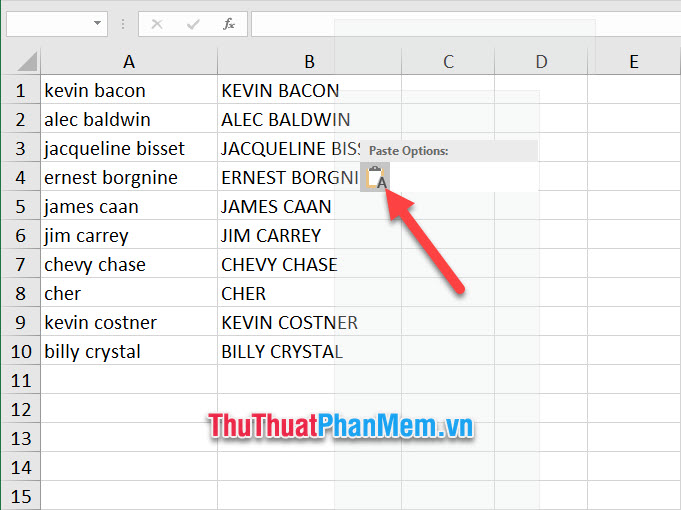 Bạn chỉ cần dán dữ liệu đó vào ô dữ liệu tương ứng trong Excel