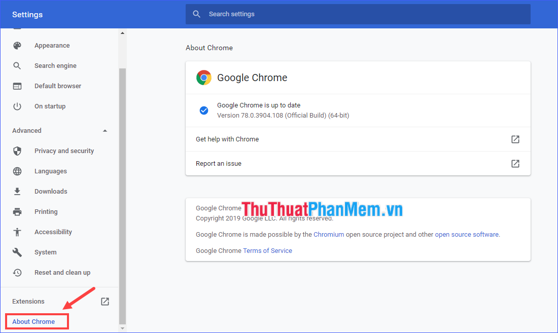 Chọn About Chrome
